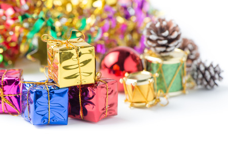 gold gift box: gold gift box on christmas background isolated