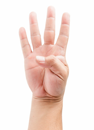non verbal: male hand holding four fingers up, with the fingers spread wide apart. With clipping path.