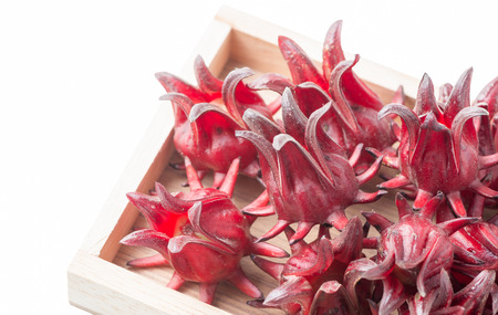 roselle fruit in wood box isolated isolated on white