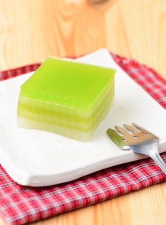 chan: Layer Sweet Cake, Kanom Chan on white dish Stock Photo