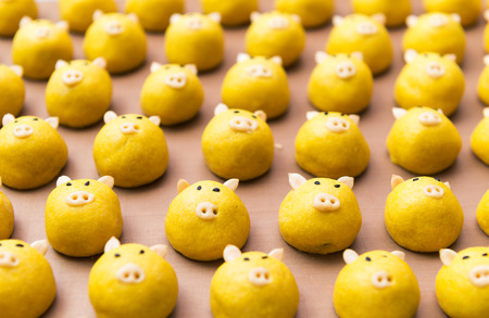 recipe decorated: cute yellow pig cookie on tray