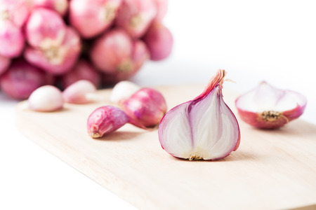 slice red shallot isolated on white