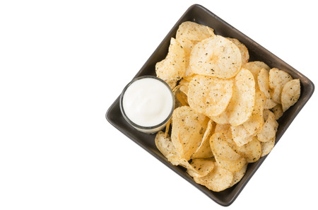 potato chips: potato chip with sour cream isolated on white Stock Photo
