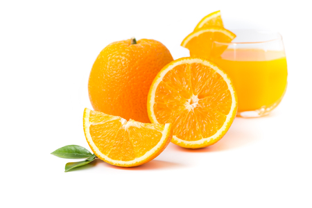 navel orange: slice Valencia orange or Navel orange isolated on white background Stock Photo