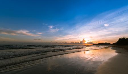 tulsi: Sunset. Beautiful sunset at east part of Thailand. Gold sea sunset. Sea sunset. Sea sunset background. Amazing sea sunset Sunset sea picture. Sunset sea waves. Summer sunset. Stock Photo