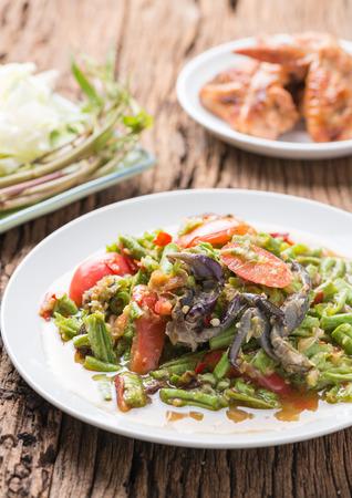 long bean: Long Bean Salad with salted crab, Thai food.