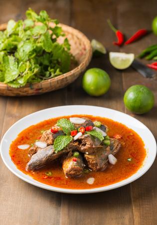 sardine: Spicy Canned Sardine Salad, Thai fast food and top view.
