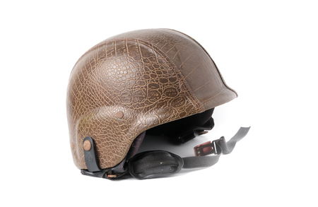 brown leather helmet isolated on white background.
