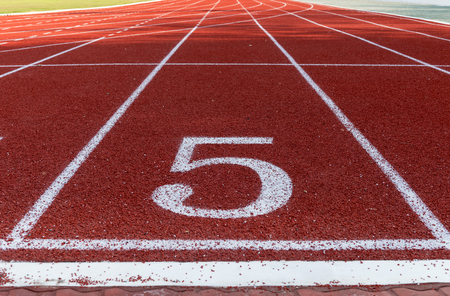 Athlete Track or Running Track with numbers five good for business or motivation.