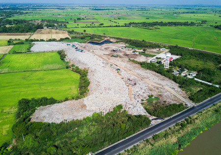 careless: aerial view from drone: garbage in Municipal landfill for household waste, pollution problem. Stock Photo