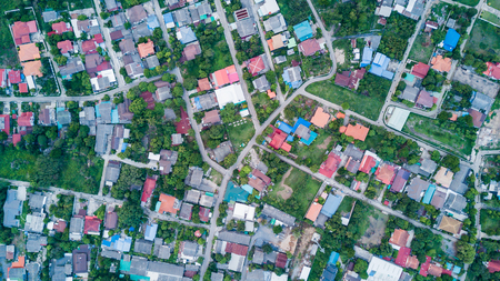landuse: Aerial view of residential houses and driveways neighborhood, landuse concept. Stock Photo