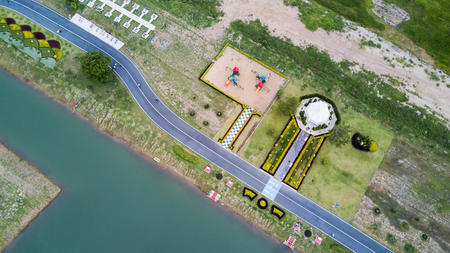 run way: Aerial view of health park and running track with children playground, healthy concept Stock Photo