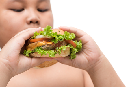 pork hamburger on obese fat boy hand background isolated on white, unhealthy food, junk food or fast food.