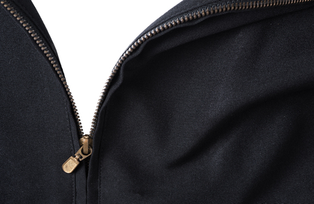 open zipper black Jacket isolated on white background, open ones heart or show ones true feeling. Stock Photo