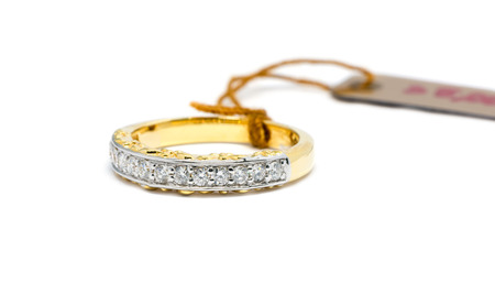 diamond ring: beautiful Gold ring with diamond isolated on white background, wedding ring and love concept.