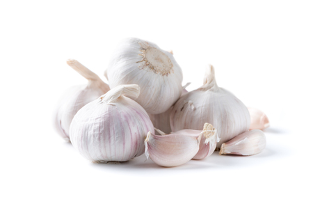 spiciness: white garlic isolated on white background, Most ingredient for cook thai food.