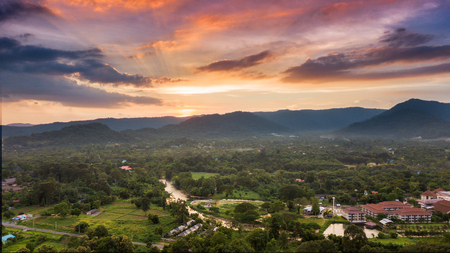 landuse: beautiful of sunset at mountain and landscape of Nakhonnayok province Thailand. Stock Photo