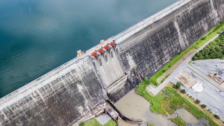 Khun Dan Prakan Chon dam in Nakonnarok province Thailand, largest and longest roller compacted concrete dam.