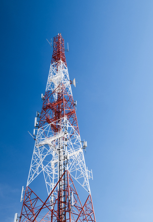 communication tower on blue sky background, Global connecting concept.