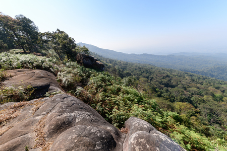 rock and landscape from viewpoint in Phu Hin Rong Kla National Park with blue sky, Phitsanulok Province, Thailand.