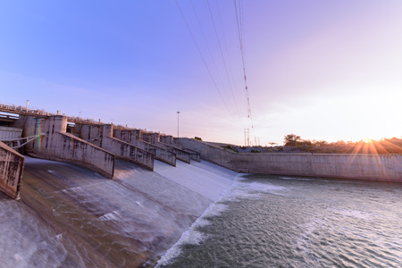 Spillway of Dam gate on morning, The Pa Sak Cholasit Dam Project is one of the major irrigation projects of Thailand,. The dam also decreases problems in Bangkok more flood control.