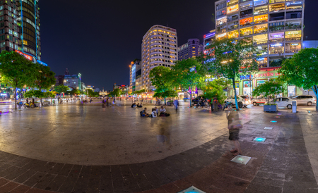 Ho Chi Minh City, Vietnam - May 18, 2018: Many visitors walked around to find many distractions on Nguyen Hue street. it was a center of major companies leading regional and world
