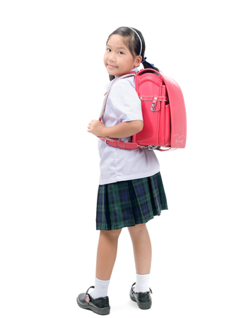 cute asian student with school bag isolated on white background, back to school concept.