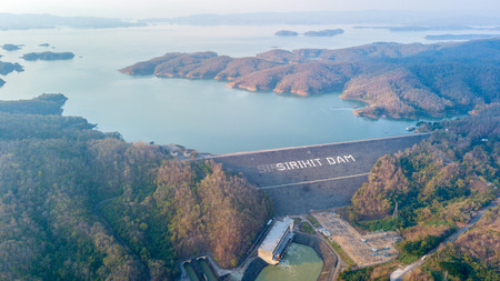 Aerial view of Sirikit Dam at Uttaradit province,Thailand, It was built for the purpose of irrigation, flood control and hydroelectric power production