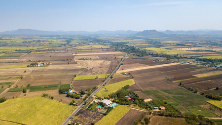 aeril view of Preparation of sugarcane planting areas at Lop buri province, THAILAND.