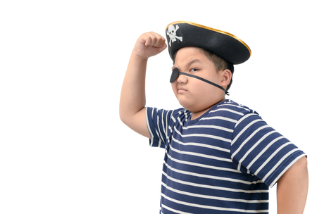 A happy young fat boy wearing a pirate costume show muscle isolated on white