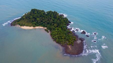 Aerial of Koh Man Nai (Man Nai Island), Koh Chang national park, Trad, Thailand, top view of beautiful tropical island landscape.