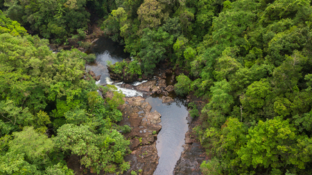 Aerial of Klong Plu waterfall, Koh Chang island, Trat Province, Thailand. It is very popular destination of tourist.
