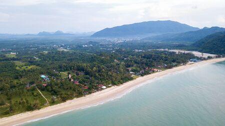 Landscape of Khanom Beach, Nakhon Sri Thammarat, THAILAND. aerial from drone