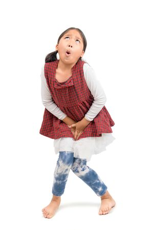 Little girl need a pee isolated on white