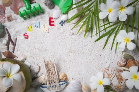 Colorful summer text with Shells and plumeria flowers on sand