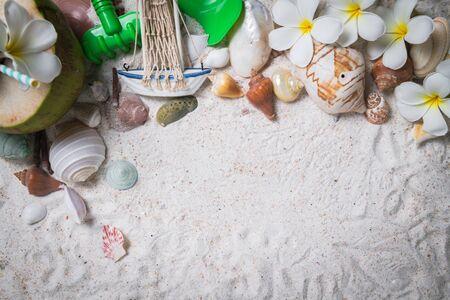 Shells and plumeria flowers on sand