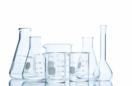 Realistic Glass Laboratory Equipment Set isolated on white Banque d'images