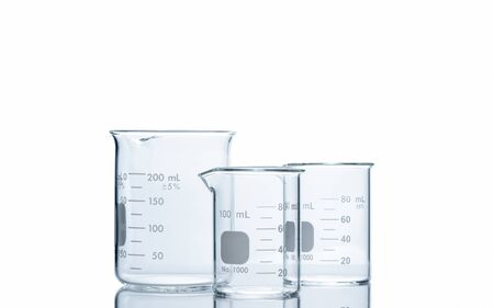 200ml and 80ml measuring beaker for science experiment in laboratory isolated on white background and clipping path, Scientific equipment and education concept