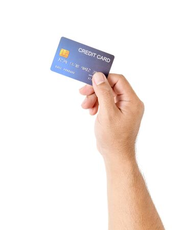 Hand man holding credit card isolated on white, business and money for shopping online, new normal concept