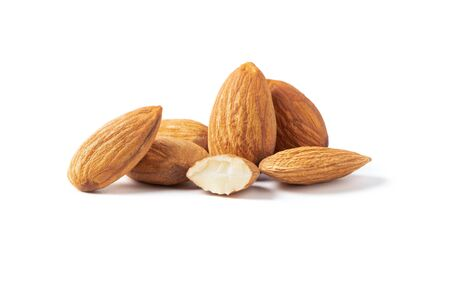 Group of almonds nuts isolated on white background