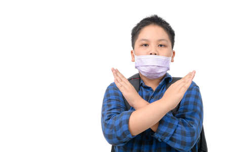 Wrong way to wear surgical mask, Schoolboy wearing a surgical mask in the wrong way isolated on white background, prevent covid-19 infection concept