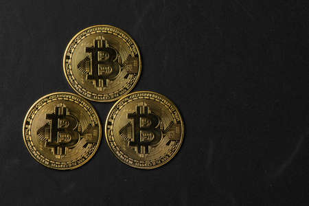 Top view of Cryptocurrency golden bitcoin