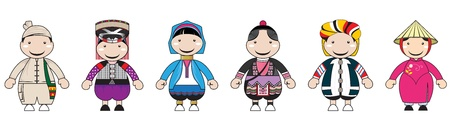 thai women: Illustrations of hill tribe cartoon