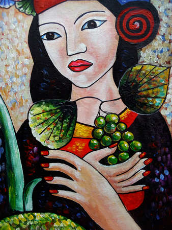Art   oil  Color  background  Hand drawn  Foreign country from thailand Standard-Bild