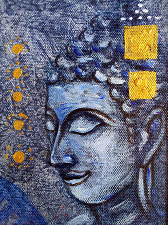 Art   oil  Color  background  Hand drawn  Buddha statue , Thai pattern from thailand Standard-Bild