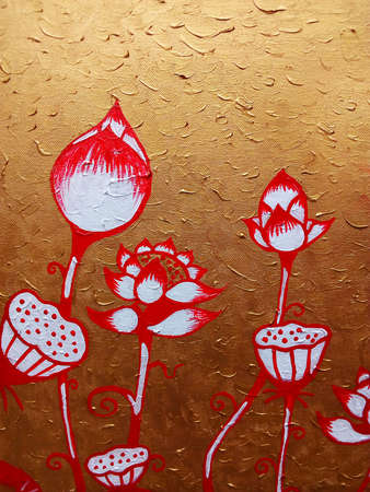 Art   oil  Color  background  Hand drawn   Thai pattern from thailand