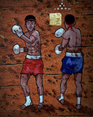 Art painting Acrylic color Muaythai , Thai boxing from Thailand