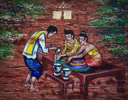 Art painting Fine art Acrylic color Thailand Thai children's games
