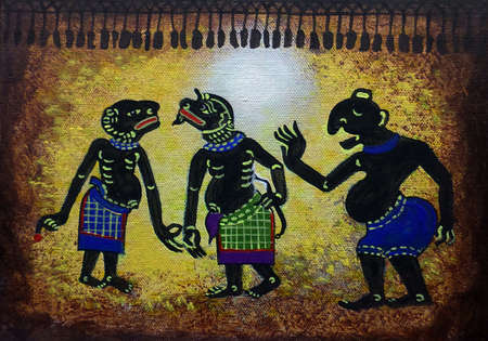 Art painting Acrylic color Thai pattern , Southern region Thai land , Light and Shadow Puppets , Nang Talung