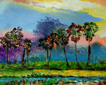Art painting Oil color northeast Countryside in the provinces Thailand